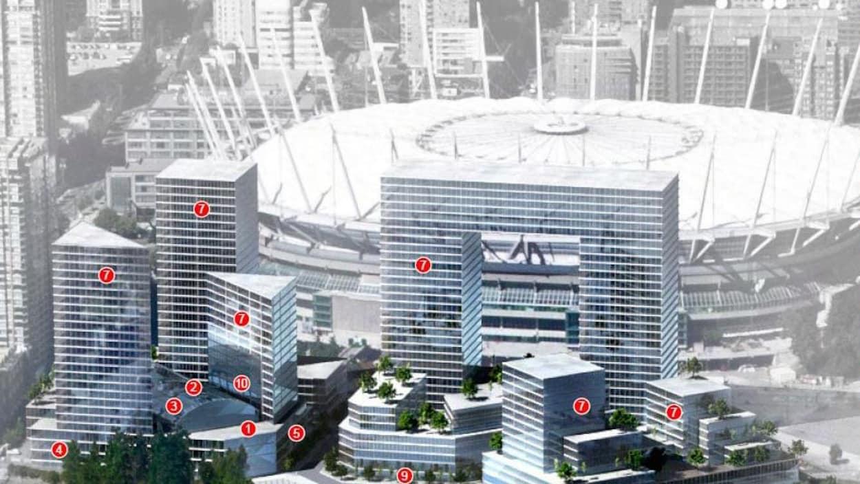 Un plan de construction pour une place publique à Vancouver.