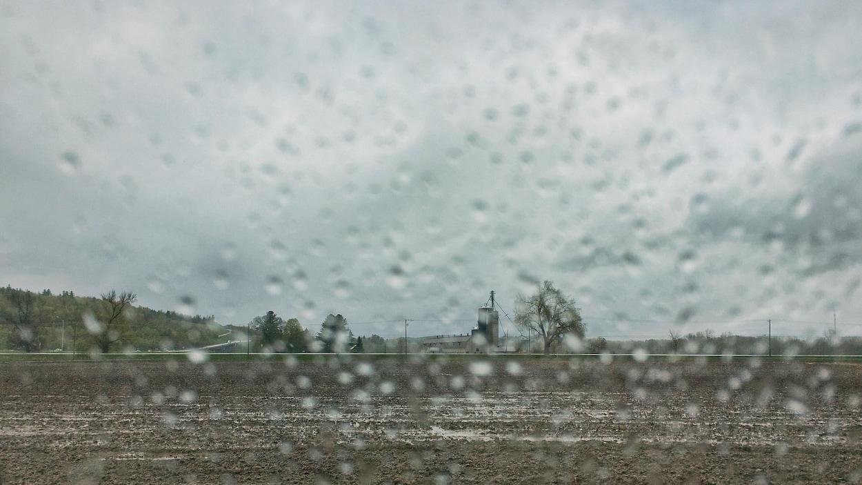 Un champs agricole rempli d'eau