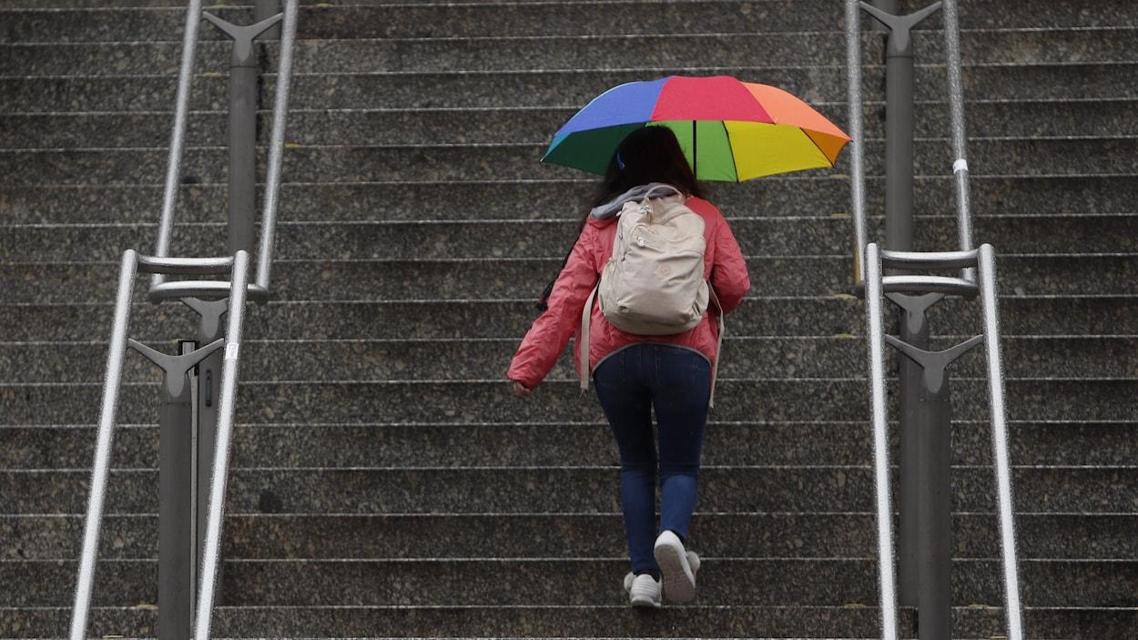 Une femme monte un escalier avec un parapluie multicolore.