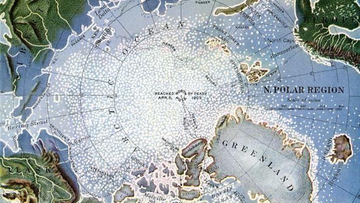 Une carte du pôle du Nord