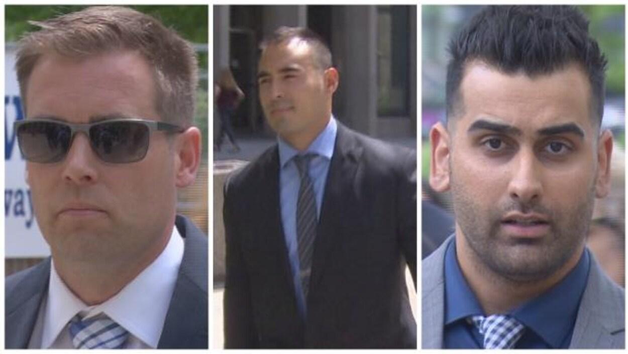 Mosaïque des photos des trois accusés