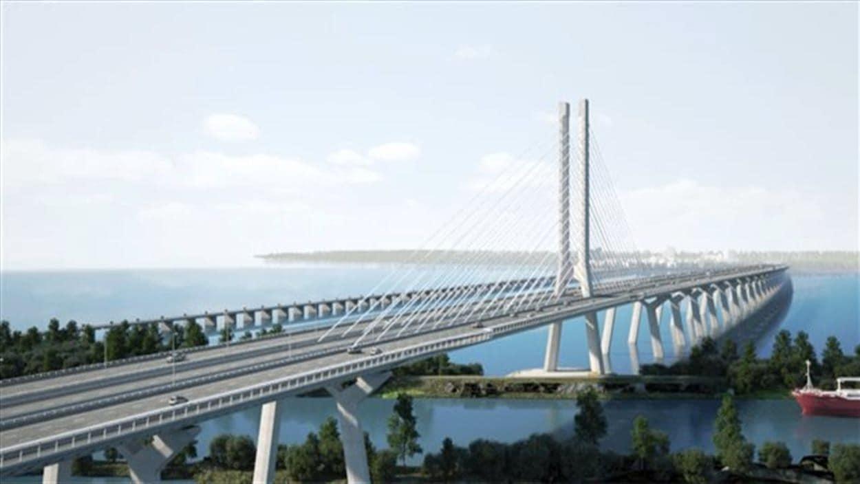 Maquette infographique du futur pont Champlain
