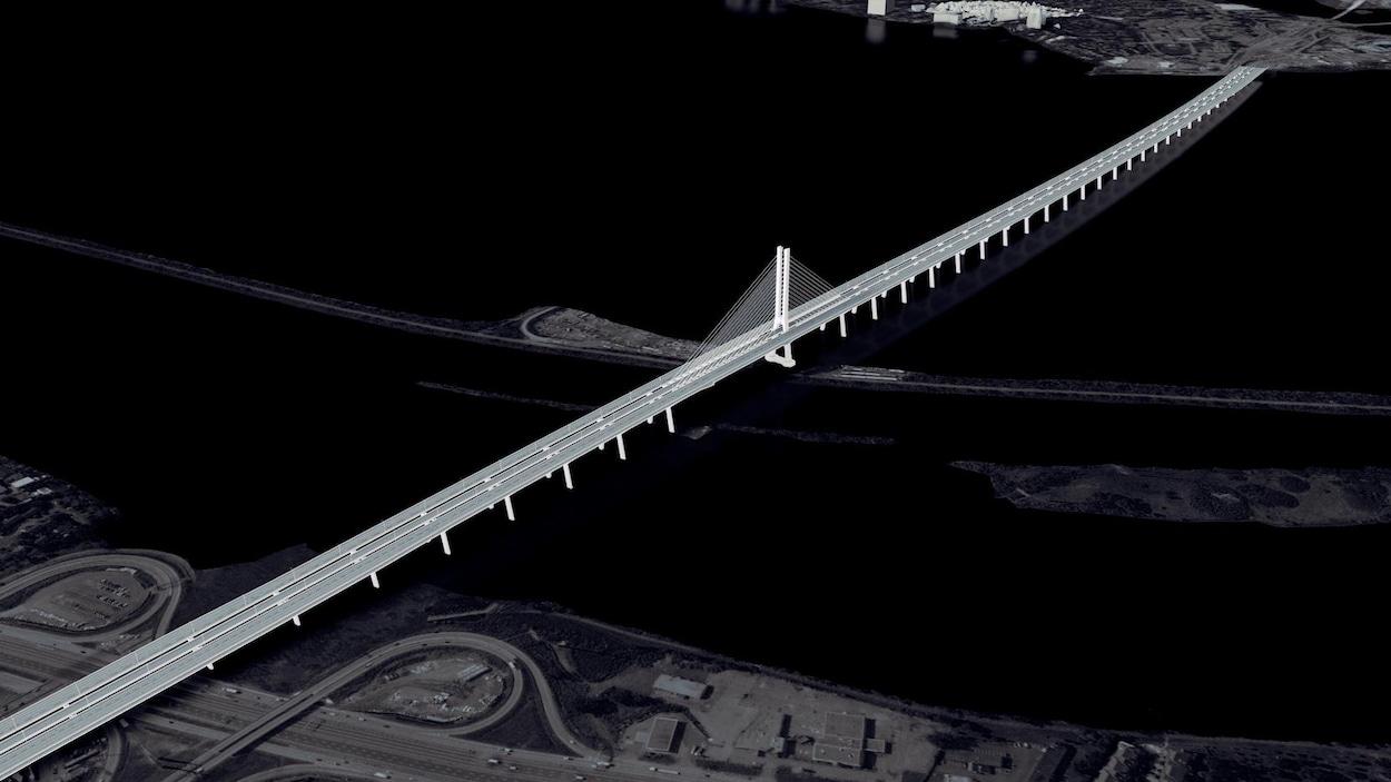 Vue aérienne du pont.