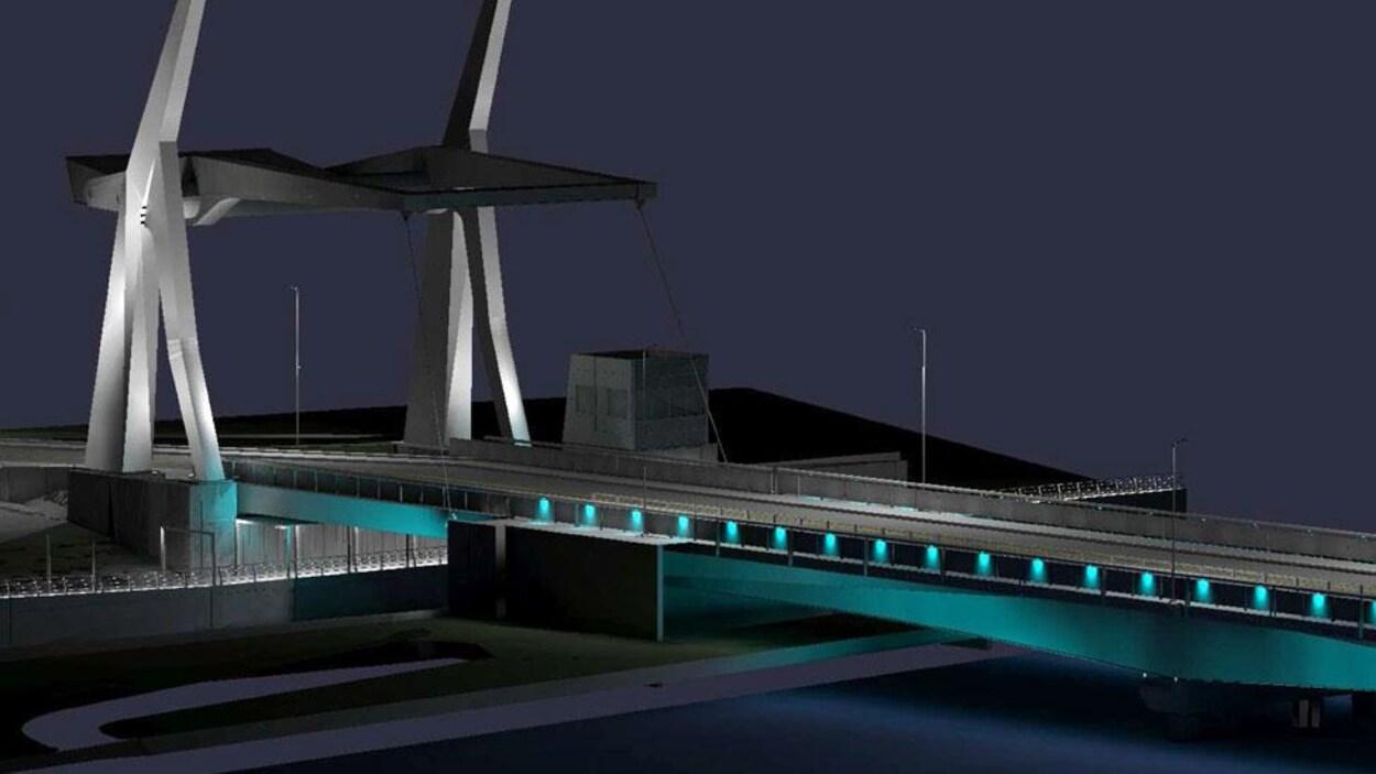 Esquisse du futur pont Gouin de Saint-Jean-sur-Richelieu, qui comprend un pont-levis (vue de soir)