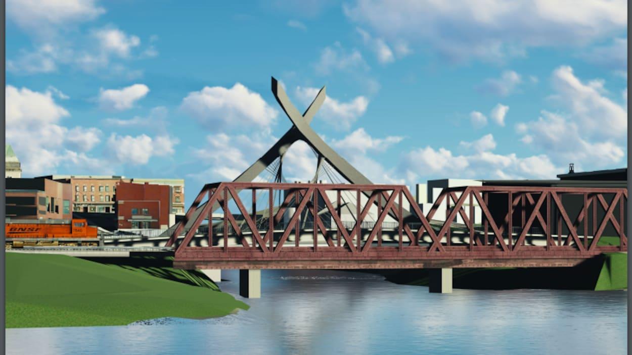 Le futur pont des Grandes-Fourches, à Sherbrooke. Les élus ont choisi un concept loin du modèle traditionnel. Ce sera un pont haubané.
