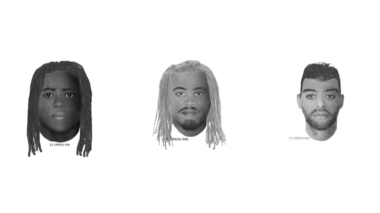 Montage des trois portraits robots des suspects recherchés par le SPVM.