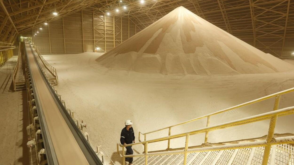 Un homme regarde un tas qui ressemble à du sable dans un énorme hangar.