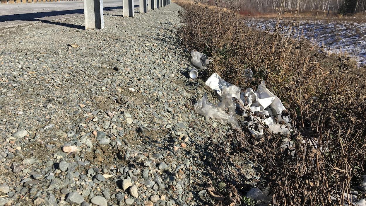 Des bouteilles, canettes et papiers traînent sur le bord d'une route.