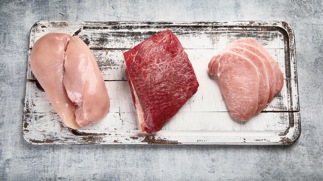 On voit, de haut, des poitrines de poulet, un morceau de boeuf et des côtelettes de porc.