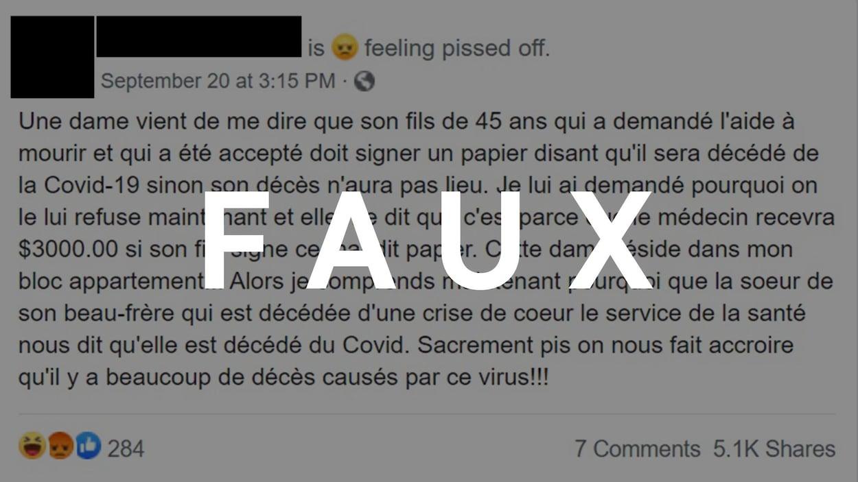 Capture d'écran d'une publication Facebook. Le mot FAUX est superposé sur ladite publication.