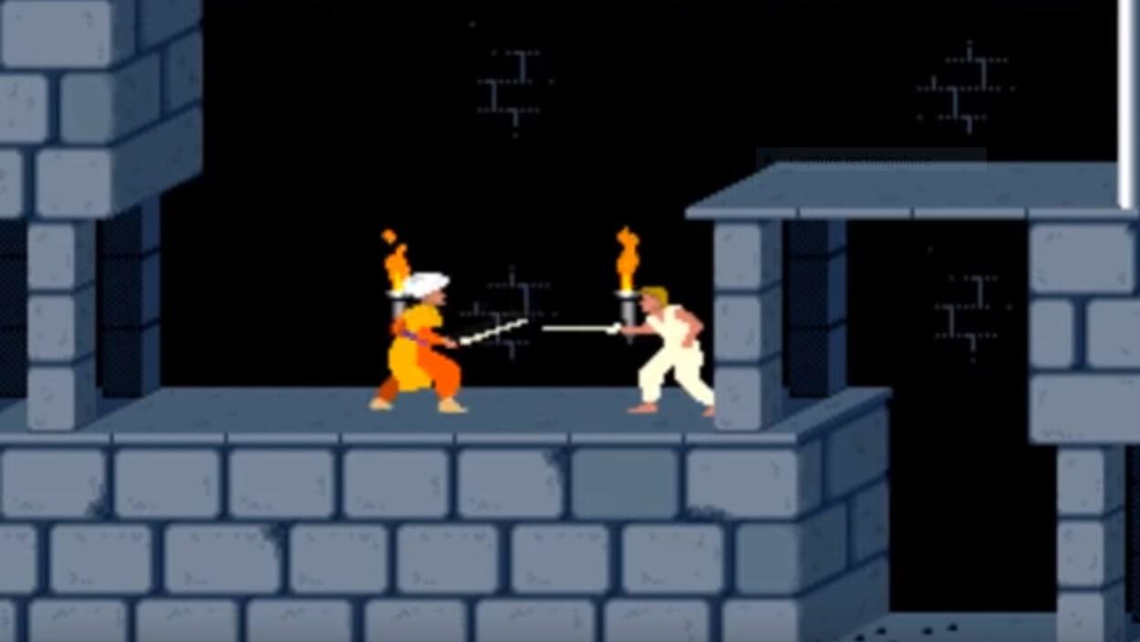 Deux personnages de jeu vidéo se battent avec des épées dans un dongeon.