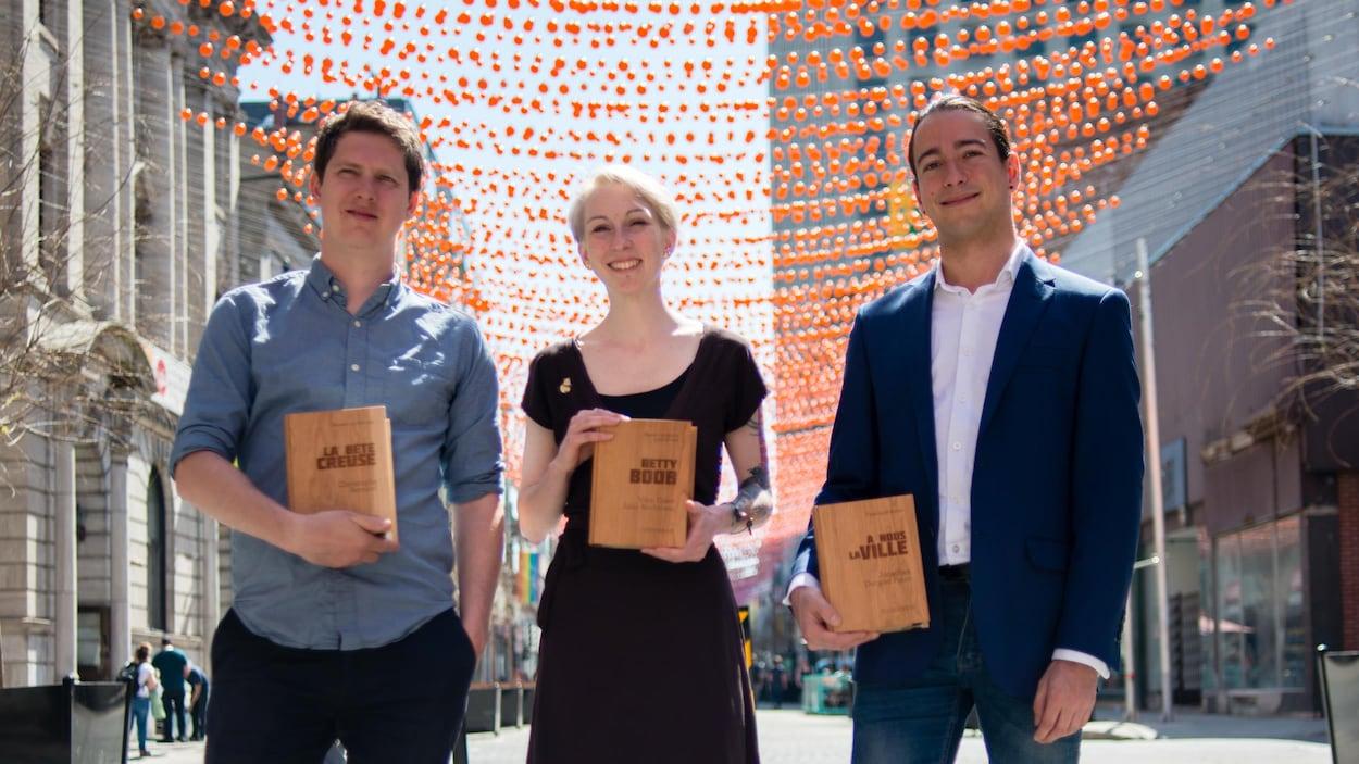 Le romancier Christophe Bernard, la dessinatrice Julie Rocheleau et l'essayiste Jonathan Durand Folco