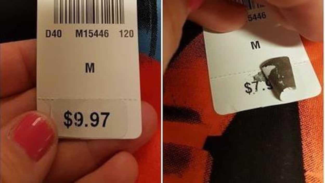 Deux photos de comparaison d'une étiquette de prix