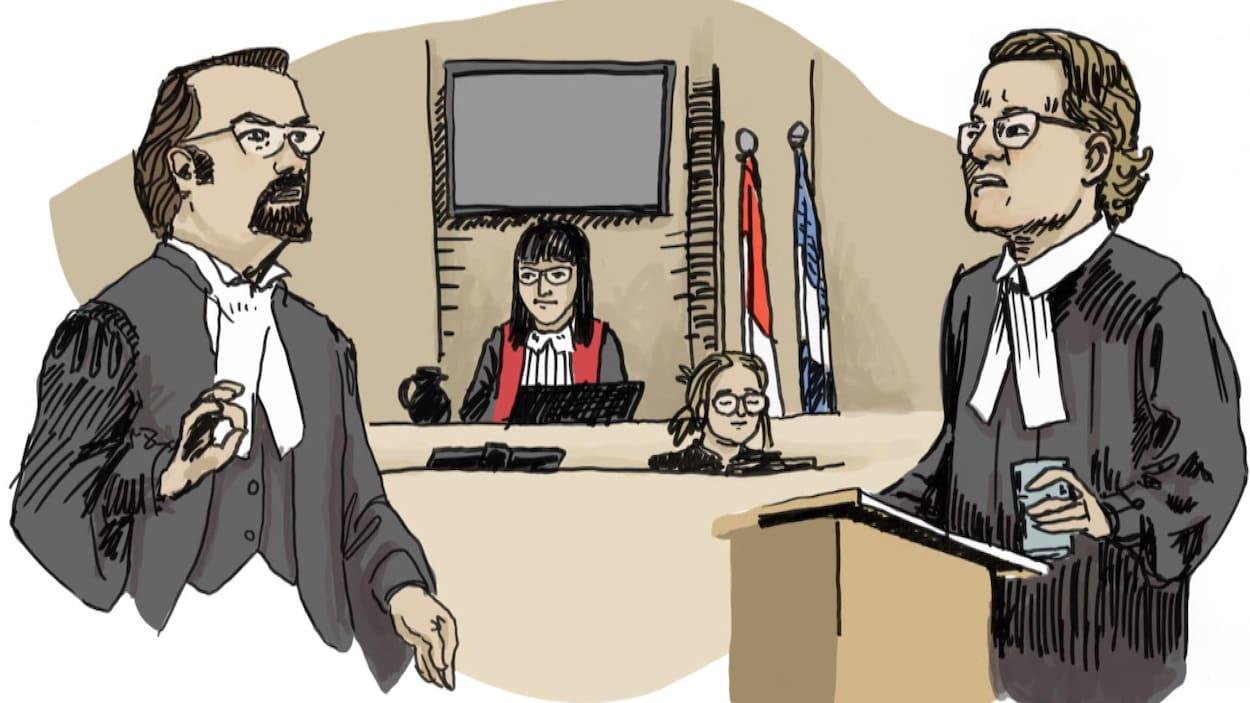Sur le croquis, deux avocats semblent s'interpeller devant le juge.