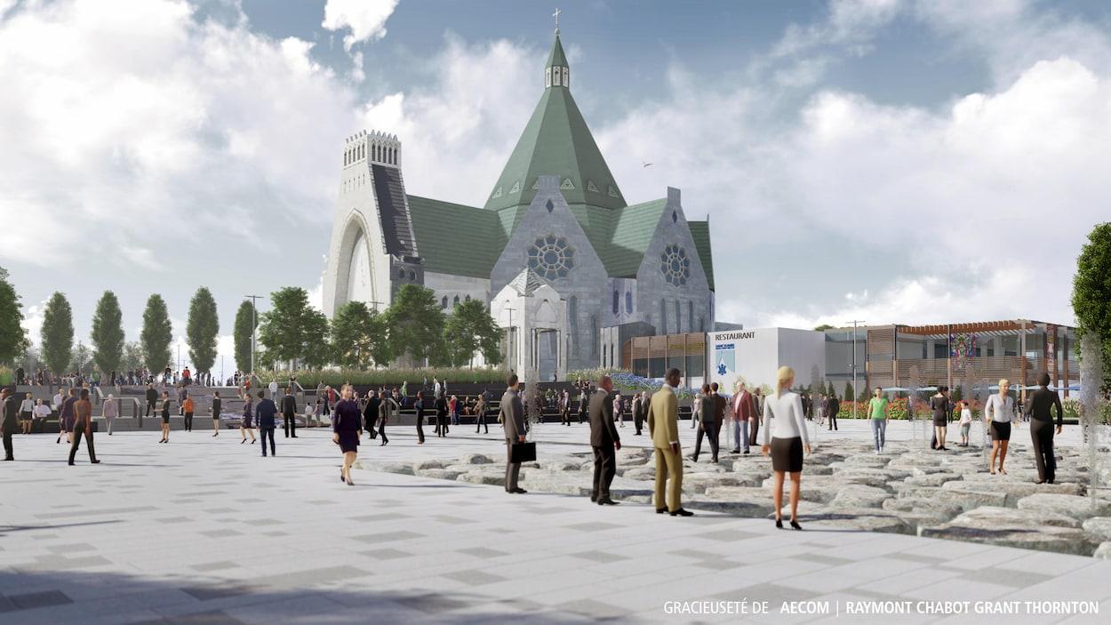 Une image 3D de gens qui marchent devant une basilique.