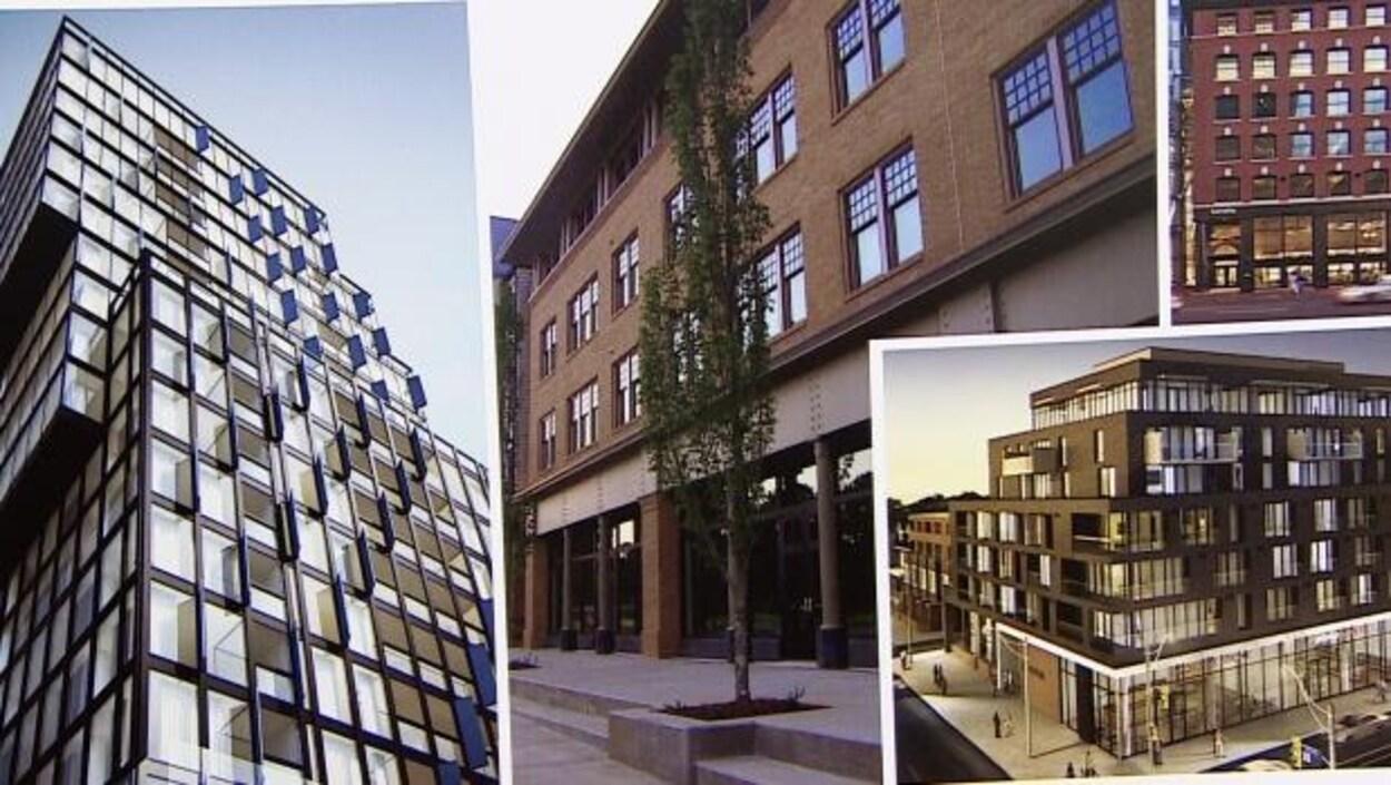 Différentes photos du projet : tour vitrée sous plusieurs angles. Le projet de tour à copropriétés Mezzo, situé près de l'avenue Whyte, doit abriter 210 logements.