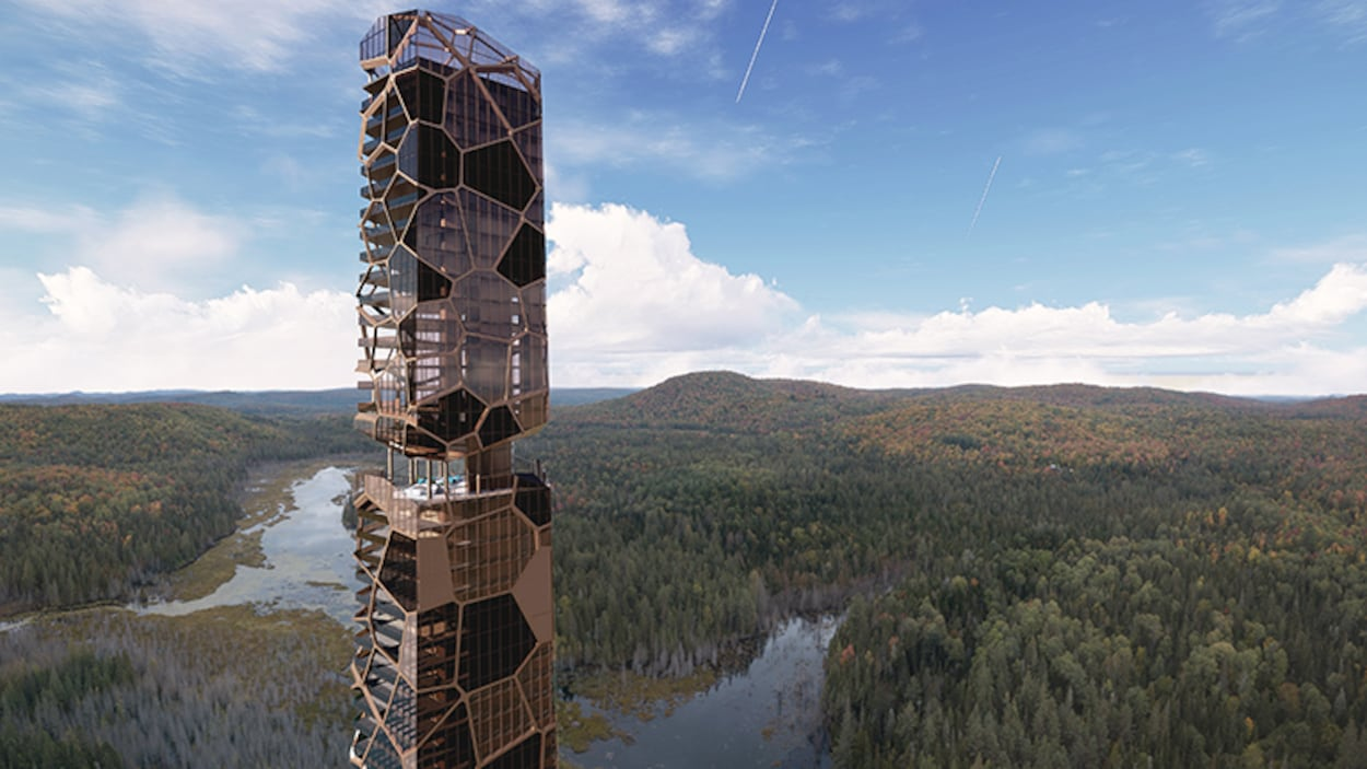 Image générée par la firme d'architecture d'une tour résidentielle haut de gamme dans un secteur forestier.