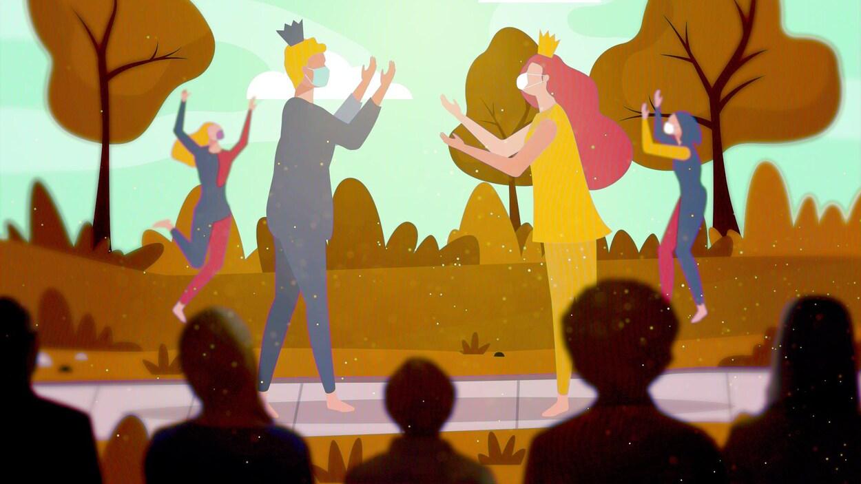 Représentation graphique d'une scène devant laquelle des ombres de spectateurs sont assises et sur laquelle des comédiens portant le masque sont en pleine représentation de théâtre.