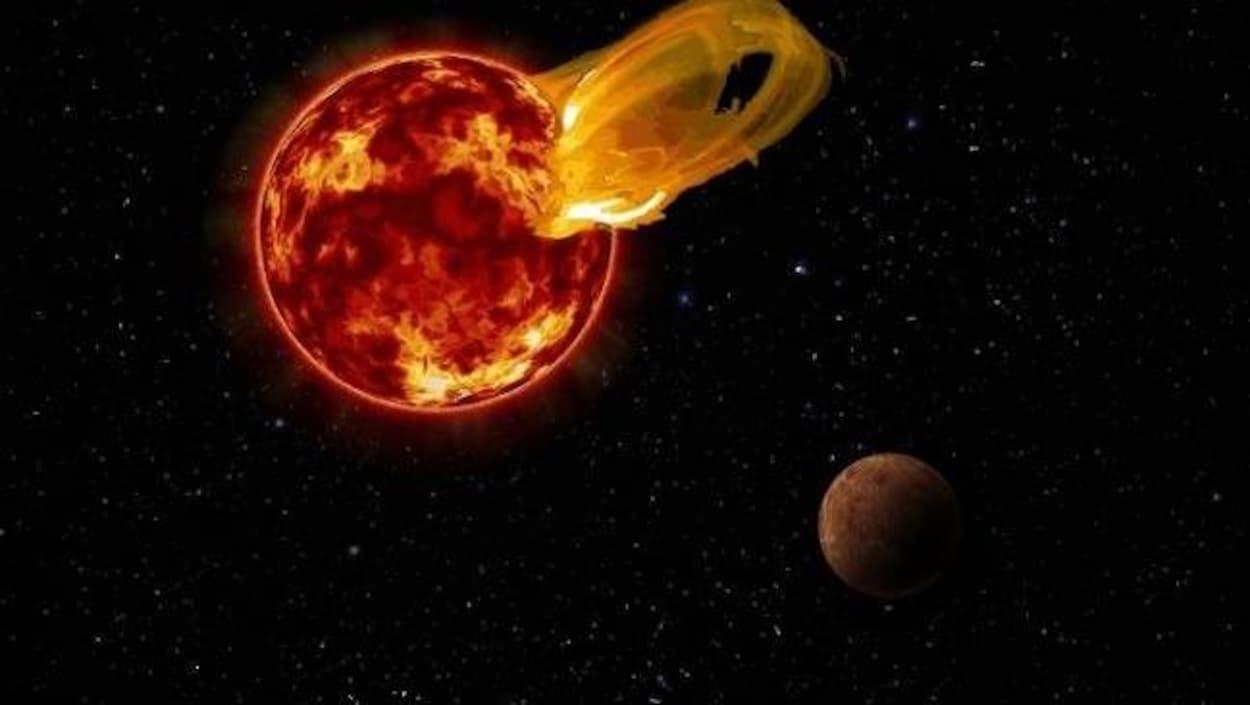 Représentation artistique de l'éruption stellaire survenue le 24 mars 2017 à la surface de Proxima du Centaure.