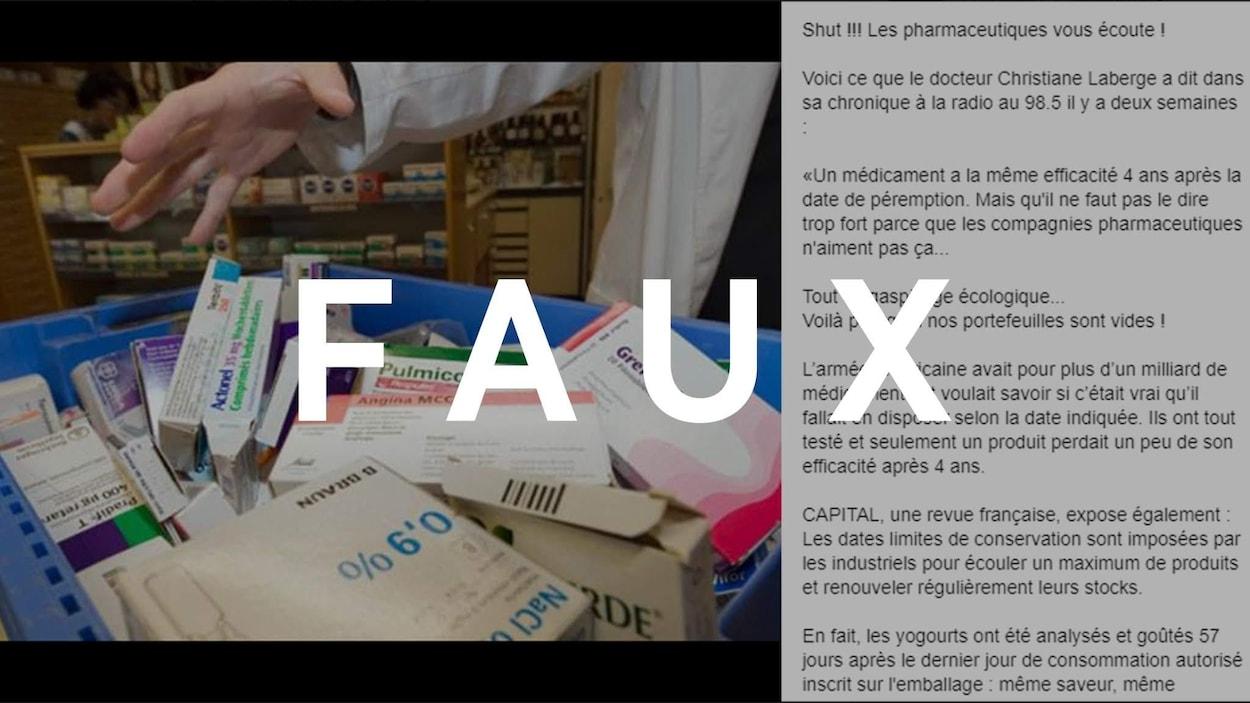 Une publication Facebook avec du texte et une image de médicaments.