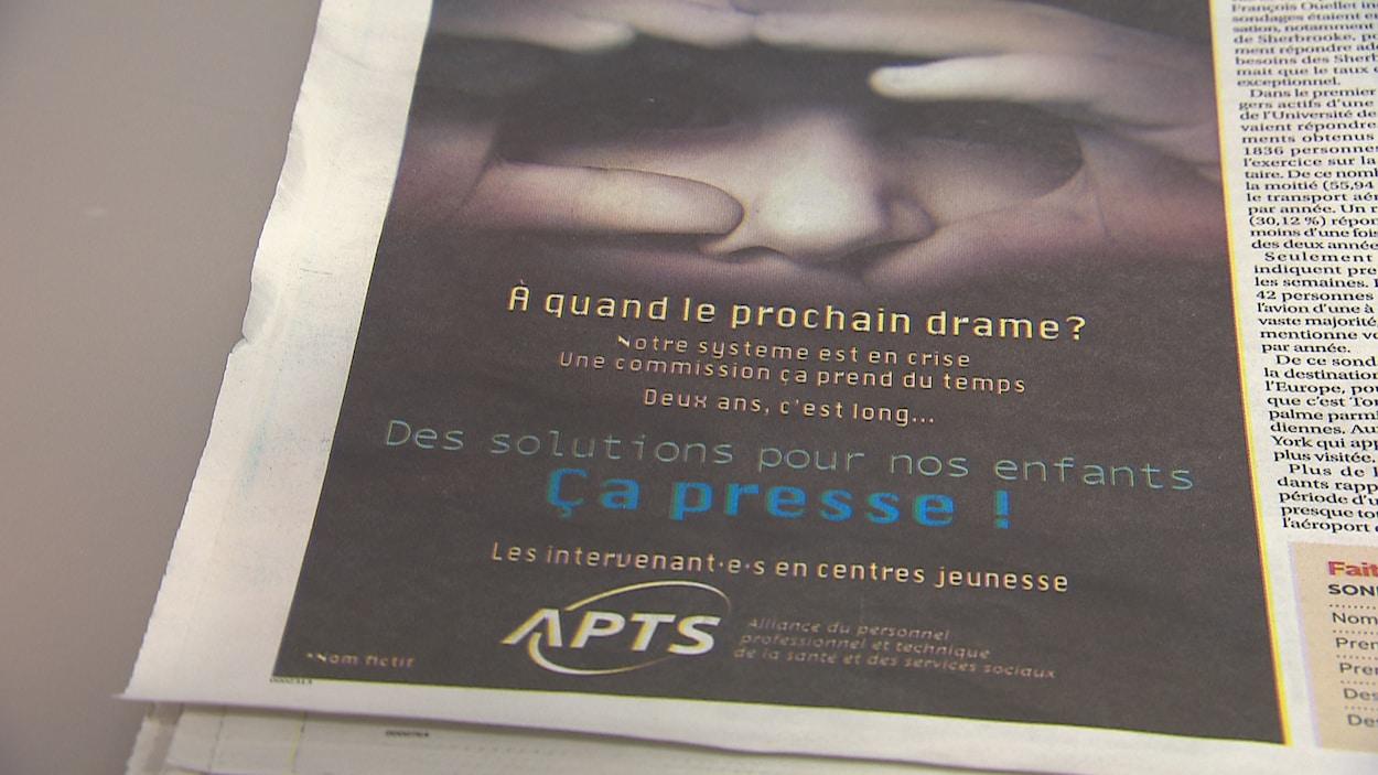 La publicité de l'APTS