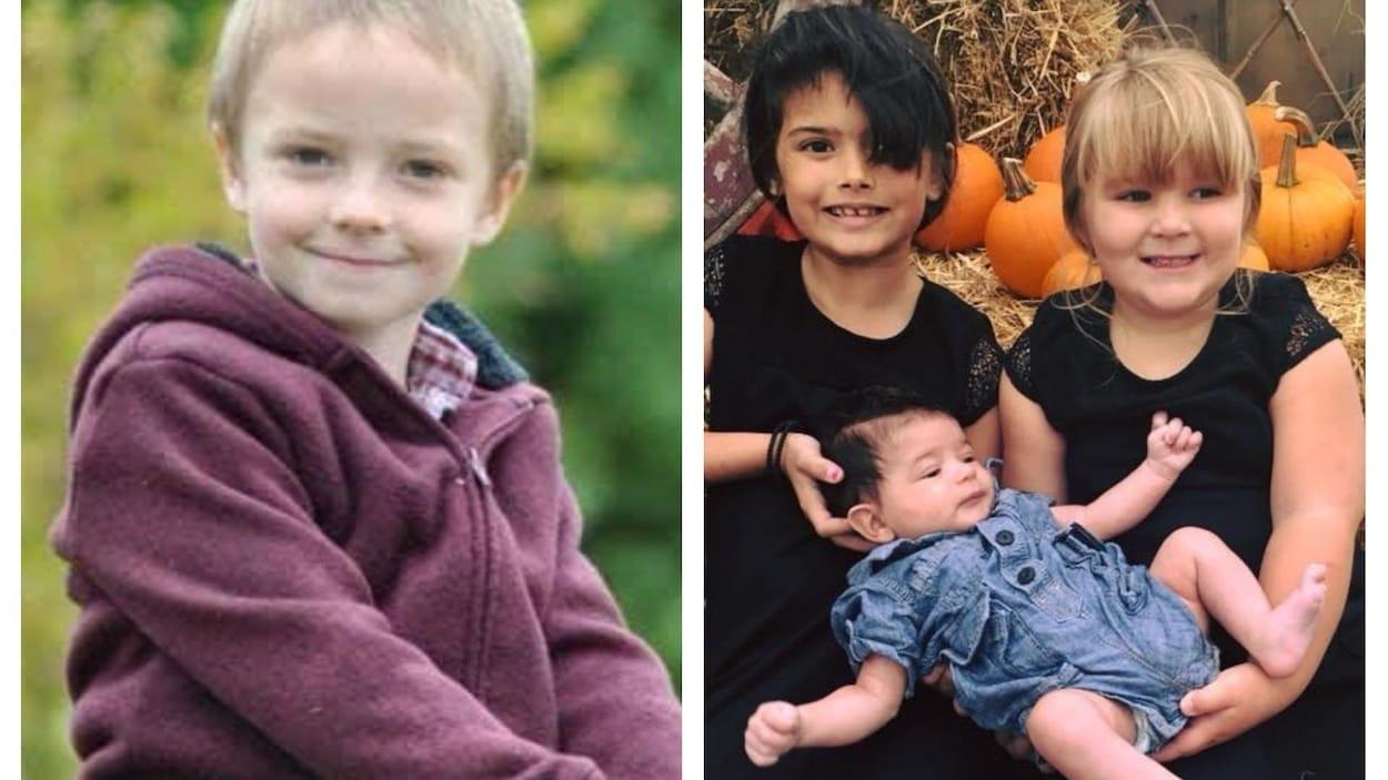 Trois enfants, un garçon et deux fillettes qui tiennent un bébé dans leurs bras.