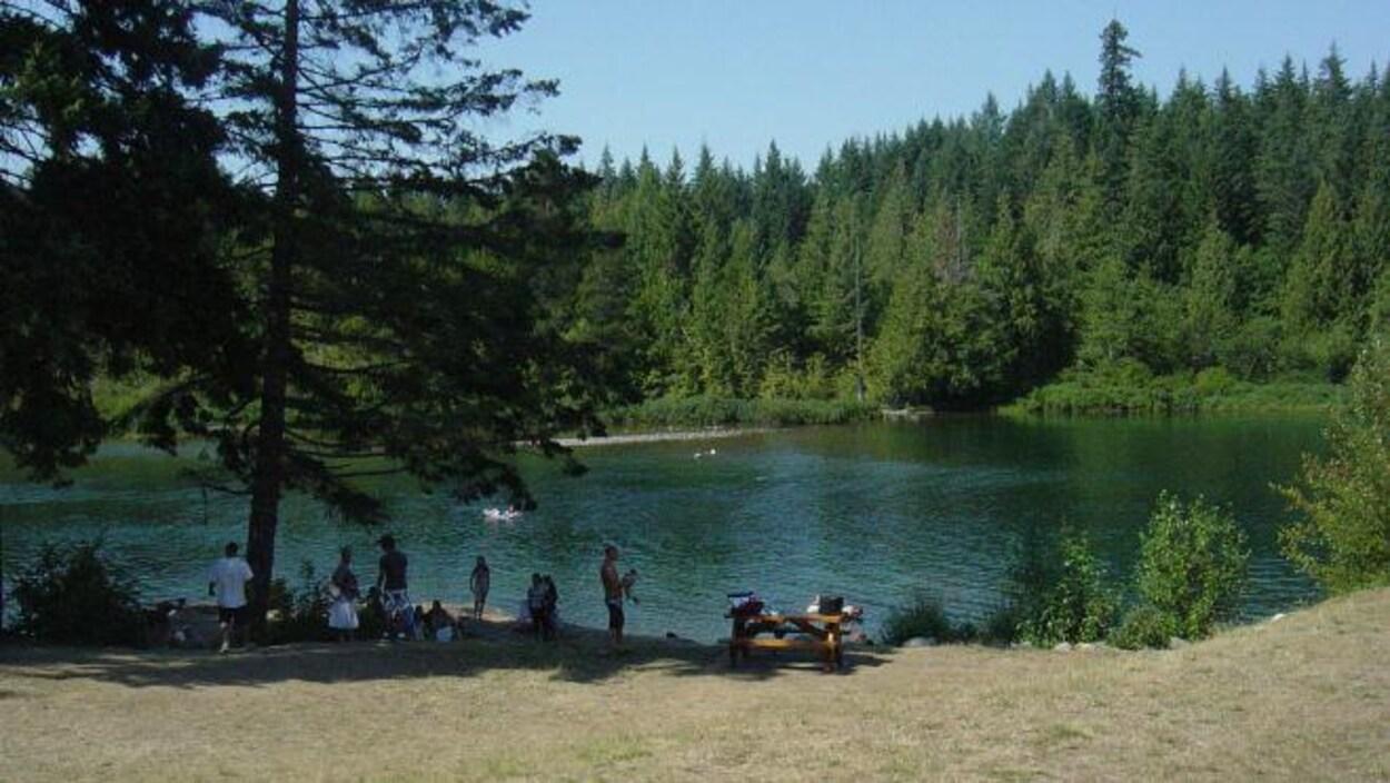 Des personnes en maillots de bain et en t-shirt se prélassent à l'ombre des arbres sur la plage au bord de la rivière.