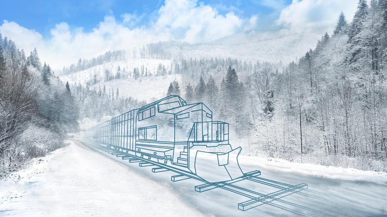 Dessin d'un train en marche dans une forêt.