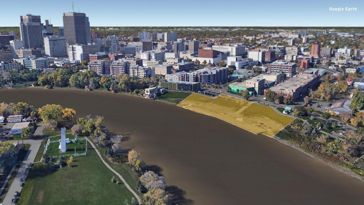 une vue de la ville de Winnipeg qui met en valeur le quai Alexander.