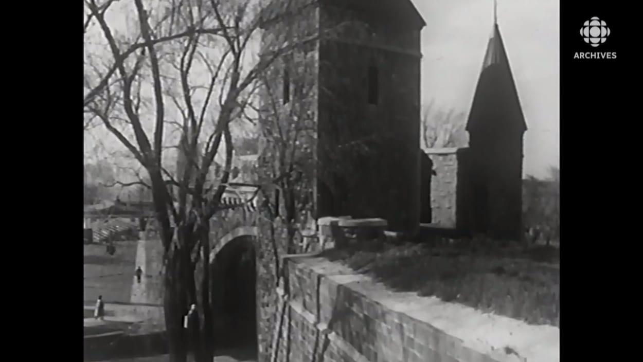 Plan sur l'une des portes des fortifications permettant l'accès entre la Haute et la Basse-Ville de Québec.