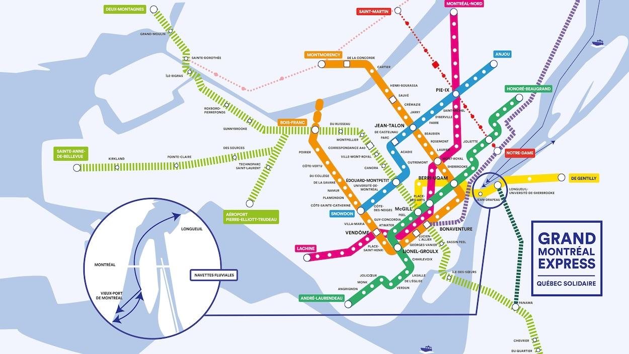 Plan du Grand Montréal Express imaginé par Québec solidaire avec le tracé du REM, tel quel.
