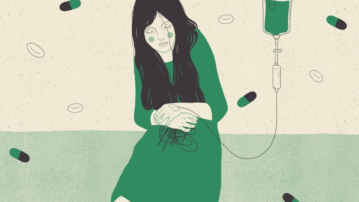 Une illustration montre une jeune femme malade, branchée à un soluté.