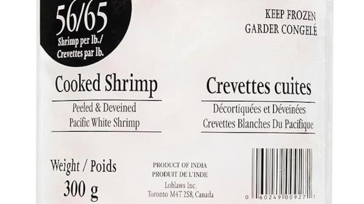 Loblaw rappelle des crevettes cuites préemballées