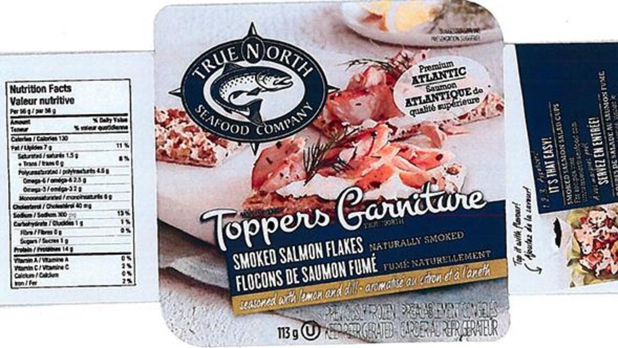 Les flocons de saumon fumé Toppers assaisonnés de citron et d'aneth de la marque True North Seafood.