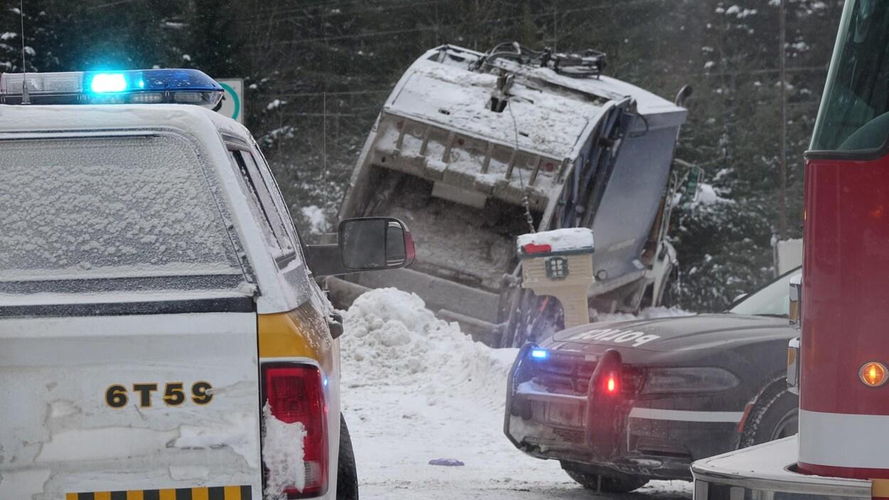 La benne à ordures impliquée dans l'accident qui a fait un mort à Rawdon