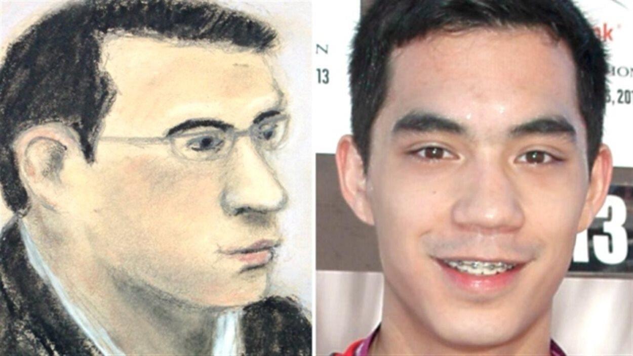 À gauche, un dessin de Matthew de Grood durant son procès et à droite, une photo de Matthew de Grood.