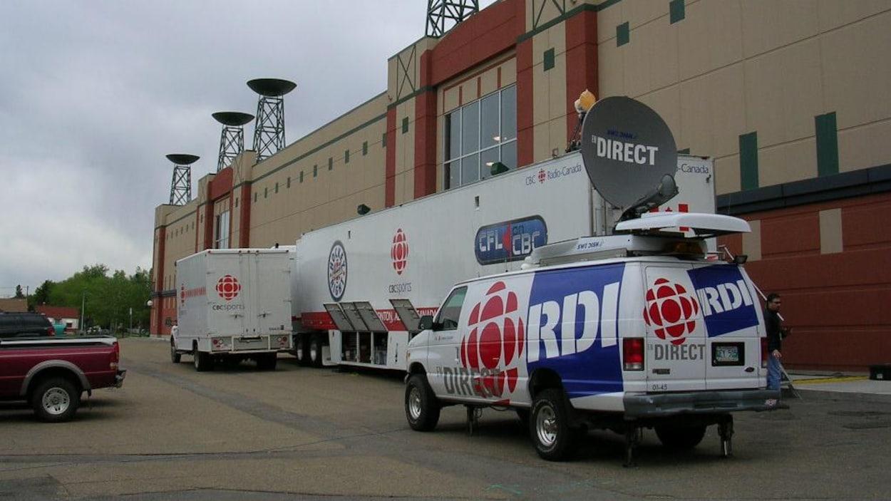 L'équipement de RDI sur le terrain avec un camion satellite du réseau.