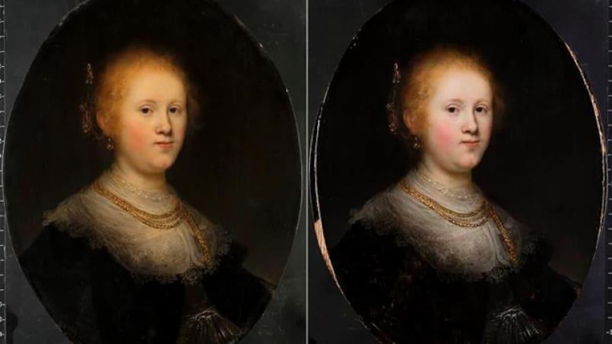 La jeune femme a la peau moins claire sur le tableau de gauche.