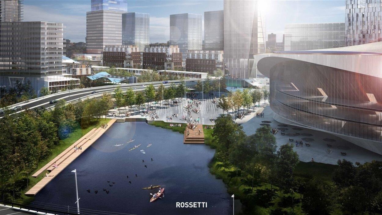 Des espaces verts, un plan d'eau devant le nouvel amphithéâtre des Sénateurs d'Ottawa