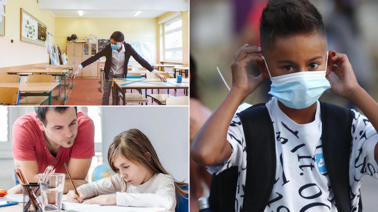Montage photo : une enseignante mesure la distance entre des pupitres, une jeune femme devant un ordinateur et des enfants portant des masques sur le chemin de l'école.