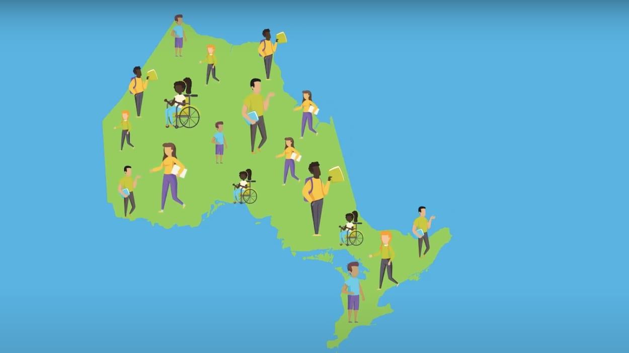 Une carte animée de l'Ontario avec des enfants partout sur le territoire.