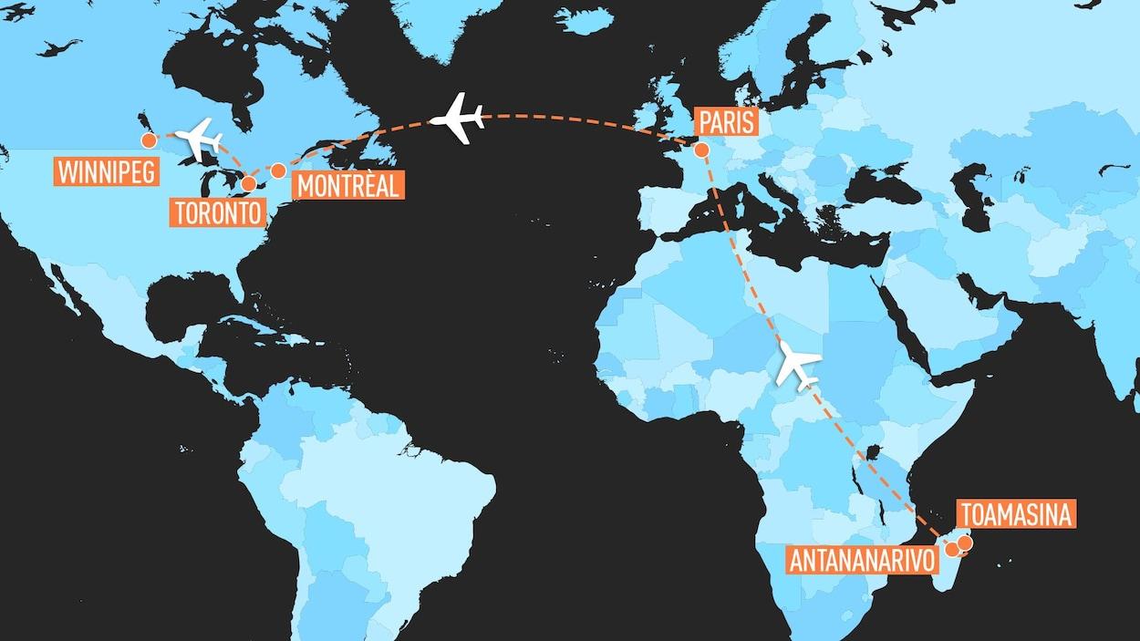 Une carte montre les étapes du trajet : de Toamasina à Antananarivo à Madagascar, puis vers Paris et de là vers Montréal, Toronto et Winnipeg.