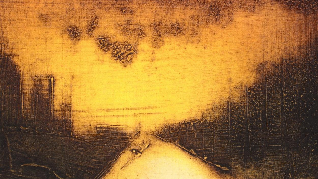 La gravure  Finir par arriver quelque part  de Richard Séguin représente un chemin semble-t-il entouré d'arbres, le tout éclairé par une lumière qui ressemble à un incendie.