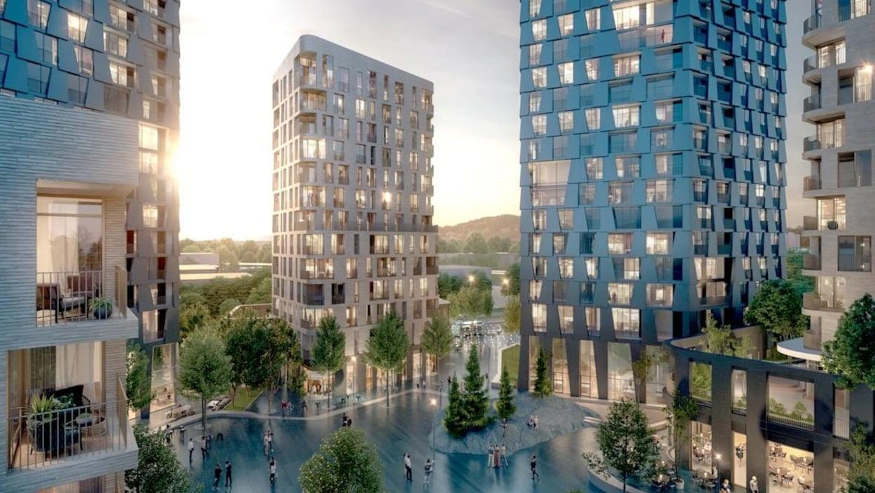 Dessin d'architecte du projet montrant une place entourée d'immeubles à l'aspect moderne.