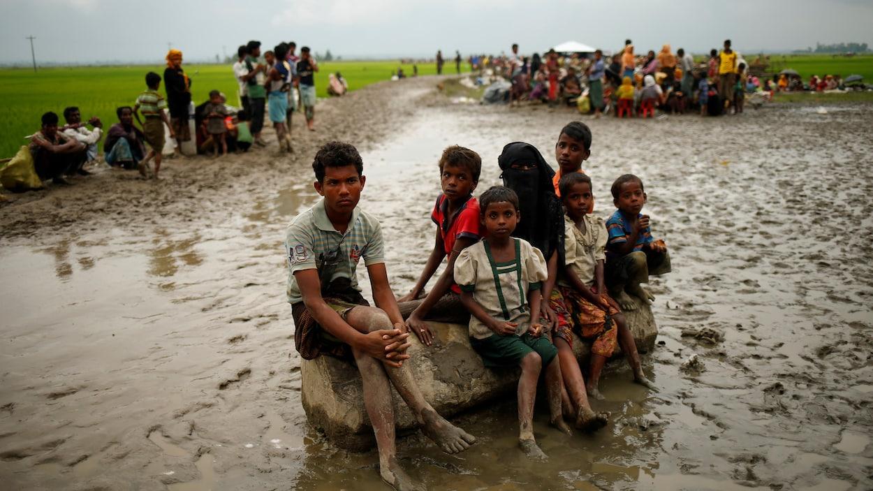 Des Rohingyas sont détenus par les garde-frontières du Bangladesh dans une aire ouverte, le 3 septembre. Depuis octobre 2016, au moins 400 000 d'entre eux ont traversé la rivière Naf pour se réfugier au Bangladesh.