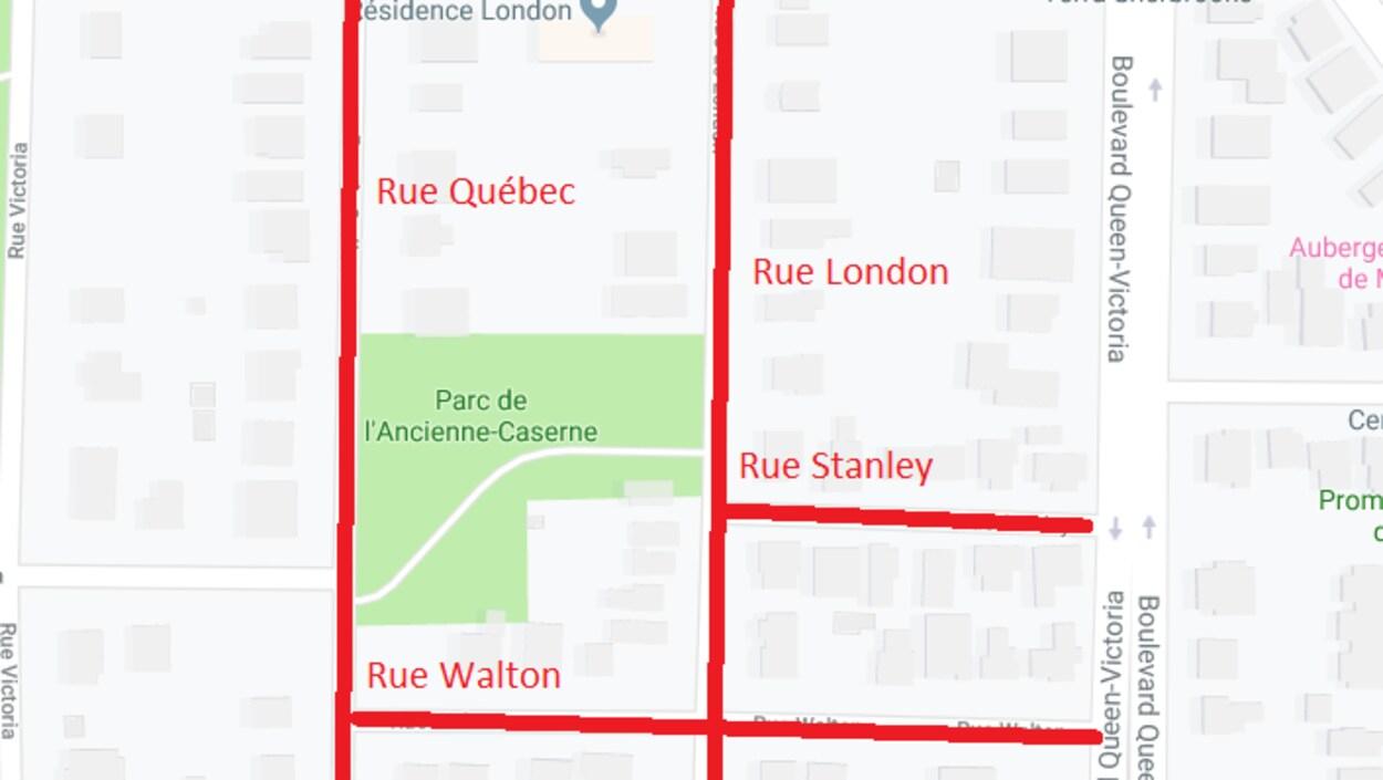Une carte indiquant l'endroit des rues partagées.