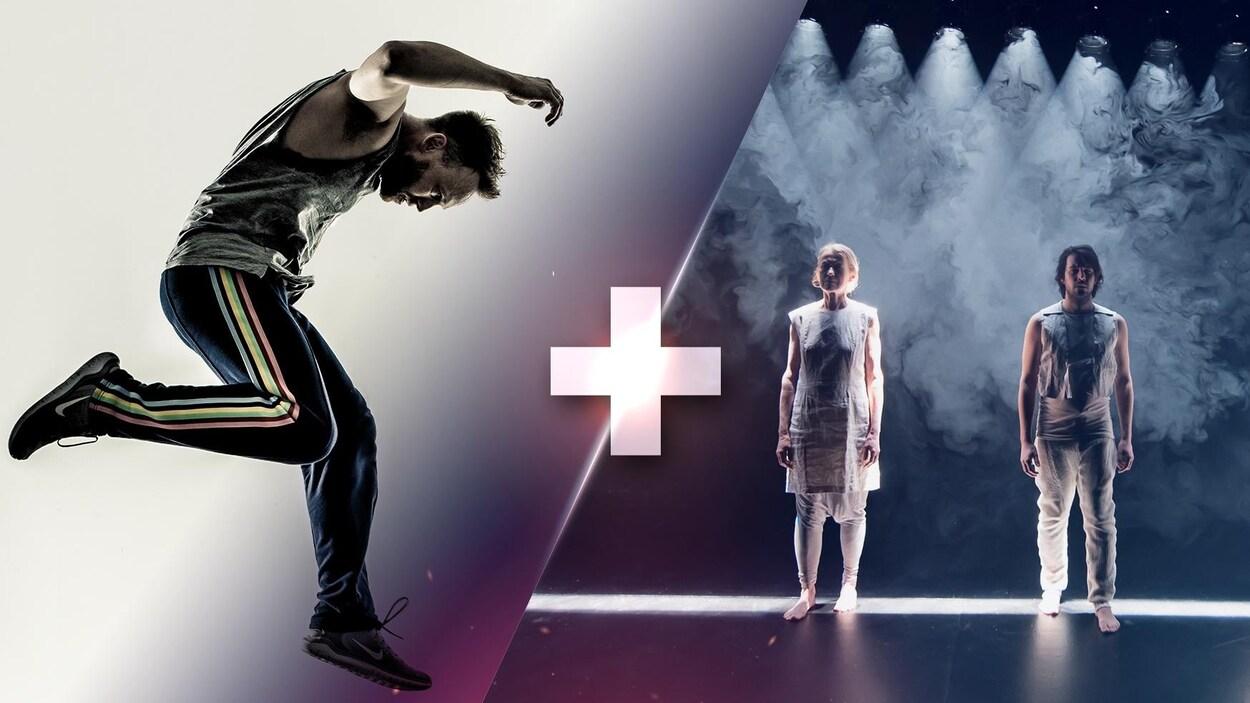 À gauche, on voit un homme bondissant dans les airs. À gauche, trois danseurs vêtus de blanc semblent sortir d'un écran de fumée.