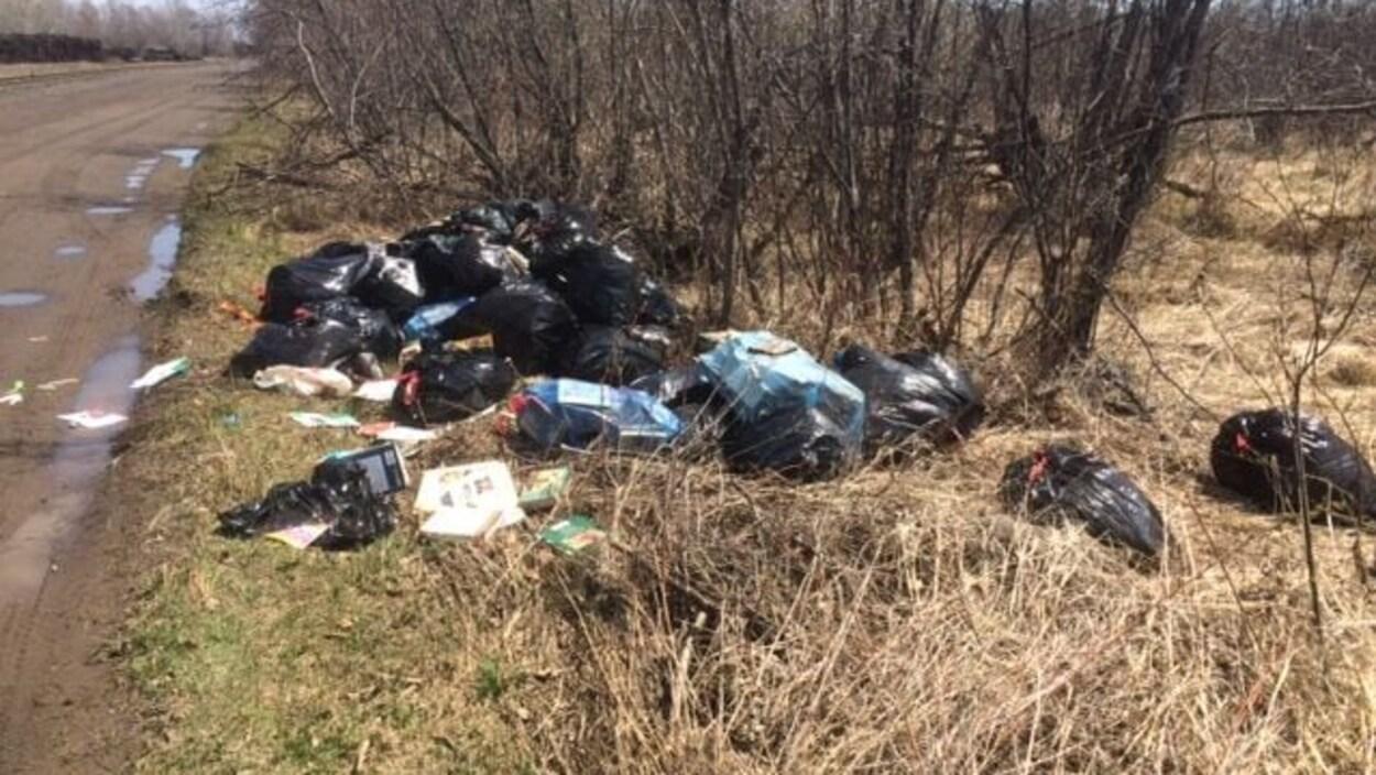 Des sacs de déchets sur le bord d'un chemin.