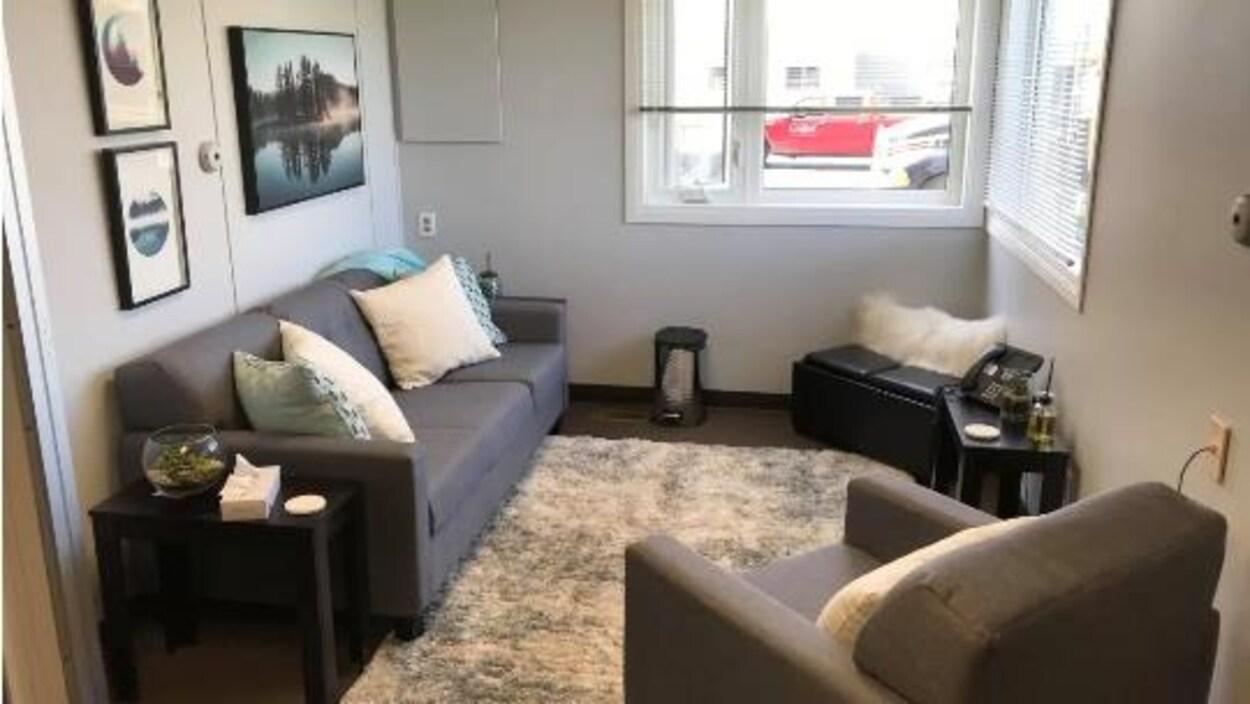 Un canapé et un fauteuil dans une petite salle