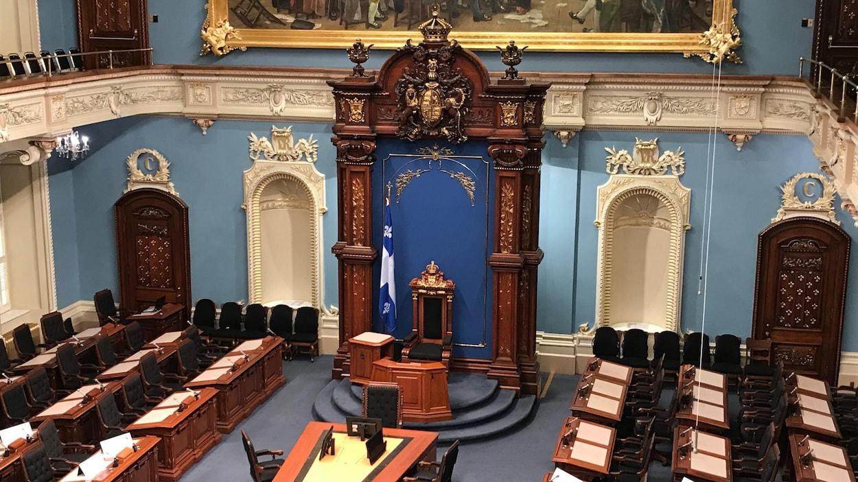 Le Salon bleu de l'Assemblée nationale du Québec.